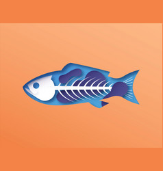 Papercut fish skeleton with toxic pollution inside vector