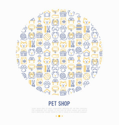 pet shop concept in circle with thin line icons vector image