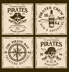 pirates four colored emblems or t-shirt prints vector image