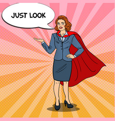 Pop art smiling super business woman in red cape vector
