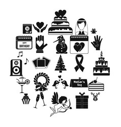 Present icons set simple style vector