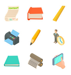 Production site icons set cartoon style vector