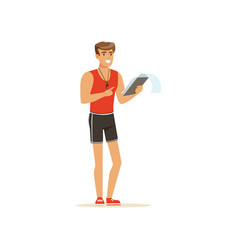 Professional fitness coach with training plan vector