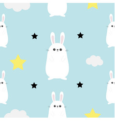 Rabbit hare head hands cloud star shape cute vector
