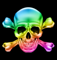 rainbow skull and crossbones on black background vector image