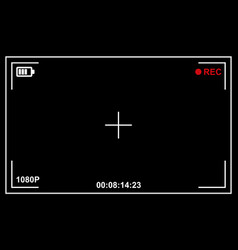 record video camera viewfinder template with black vector image