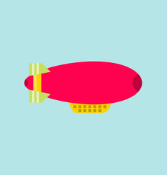 Red dirigible on a sky background airship isolated vector