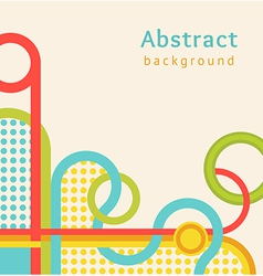 Retro background with color stripes and circles vector image