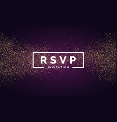 rsvp gold glitter invitation for the event vector image