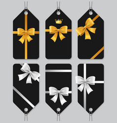 Sale or present bow labels set vector