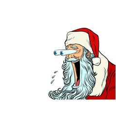 Santa claus with bulging eyes a surprise reaction vector