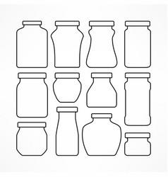 Set figured glass jars vector