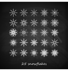 set of 25 graceful snowflakes on the blackboard vector image