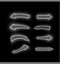 set of different neon white arrows vector image