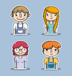 set people with clothes and hairstyle design vector image
