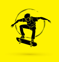 Skateboarder jumping graphic vector