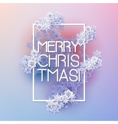 Snow frame with Merry Christmas text vector image