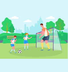 Soccer in park sport family vector