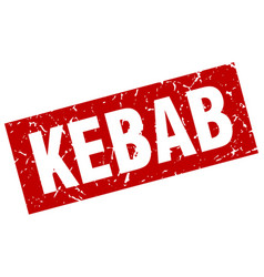 Square grunge red kebab stamp vector