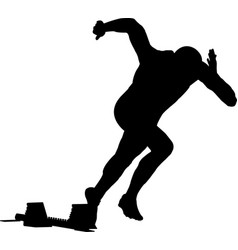 Start men runner sprint in starting blocks vector