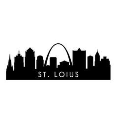 stlouis skyline silhouette black stlouis city vector image