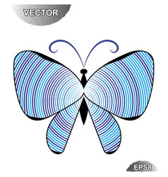 Striped summer butterfly vector