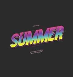 summer party font 3d bold color style vector image