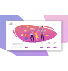 Team work landing page template website layout vector