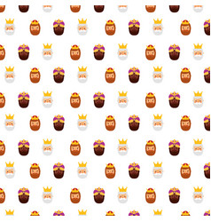 Three wise king faces decoration seamless pattern vector