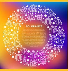 Tolerance concept in circle with thin line icons vector
