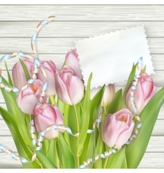 Tulips lying on a white textured table EPS 10 vector image