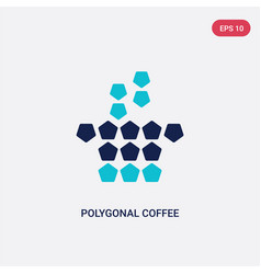 two color polygonal coffee cup icon from geometry vector image