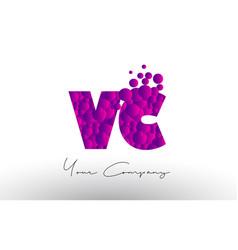 Vc v c dots letter logo with purple bubbles vector