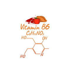 Vitamin b6 with food label and icon chemical vector