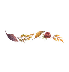 Watercolor border with autumn leaves and vector