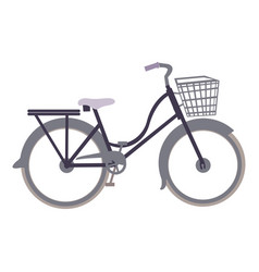 White background with classic bicycle with basket vector
