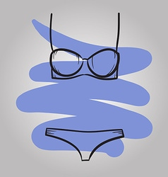 Woman swimming suit female swimsuit drawn vector image