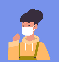 Woman wearing face mask environmental industrial vector