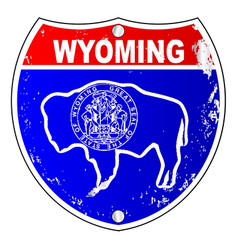 wyoming flag icons as interstate sign vector image