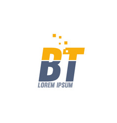 Yellow blue bt b t alphabet letter logo company vector