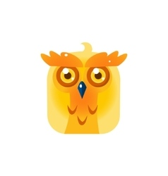 Yellow Owl Chick Square Icon vector image