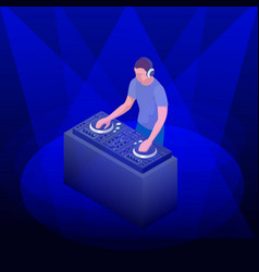 Young hipster dj mixing music on the turntables vector
