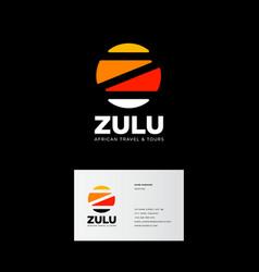 Z letter zulu logo africa travel tours emblem vector