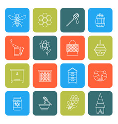 beekeeping thin line icons set vector image vector image