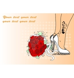High Heeled Shoes Sketch with Floral Elements vector image