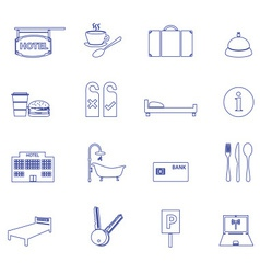 hotel and motel simple outline icons eps10 vector image