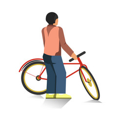 person stands and holds red bicycle isolated vector image vector image