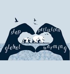 save polar bears concept global warming vector image