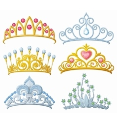 Set of princess crowns Tiara isolated on white vector image