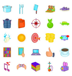 Tan icons set cartoon style vector